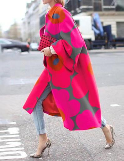 cheap Outerwear-Women's Coat Daily Fall & Winter Long Coat Loose Jacket Long Sleeve Geometric Floral Blushing Pink