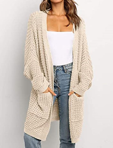 cheap Sweaters & Cardigans-womens batwing sleeve long cardigans cable knit open front sweater coat with pocket nude xxl