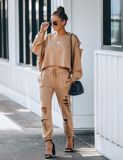 cheap Two Piece Set-Women's Basic Solid Color Causal Daily Two Piece Set Tracksuit T shirt Pant Loungewear Jogger Pants Drawstring Hole Tops