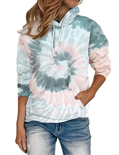 cheap Hoodies & Sweatshirts-Women's Plus Size Hoodie Pullover Tie Dye Front Pocket Daily Weekend Basic Cute Hoodies Sweatshirts  Loose Blue Purple Wine