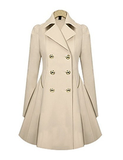 cheap OUTERWEAR-Women's Fall & Winter Trench Coat Long Solid Colored Daily Active Black Blue Army Green Beige S M L XL