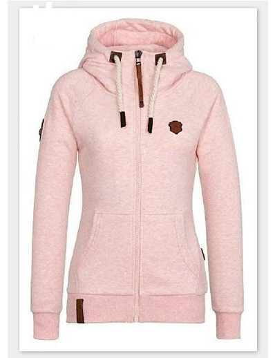 cheap Hoodies & Sweatshirts-Women's Zipper Teddy Coat Regular Solid Colored Daily Basic Yellow Blushing Pink Wine S M L