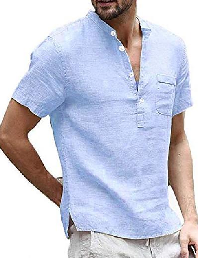 cheap MEN-mens short sleeve linen henley shirt summer casual banded collar beach t shirts lightweight plain tops sky blue