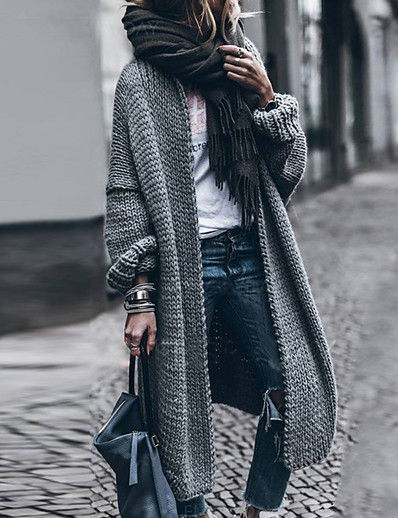 cheap TOPS-Women's Basic Knitted Solid Color Cardigan Long Sleeve Loose Sweater Cardigans Open Front Fall Winter Gray