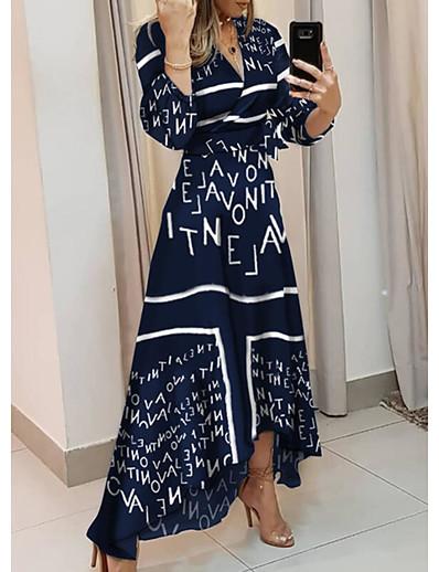 abordables Robes basses hautes-Femme Robe Évasée Robe Maxi longue - Manches Longues Lettre Imprimé Automne Hiver Col en V Simple 2020 Bleu Poudré S M L XL XXL 3XL / Asymétrique