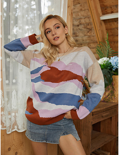cheap 10/05/2020-Women's Basic Knitted Geometric Sweater Long Sleeve Sweater Cardigans Crew Neck Round Neck Fall Winter Rainbow
