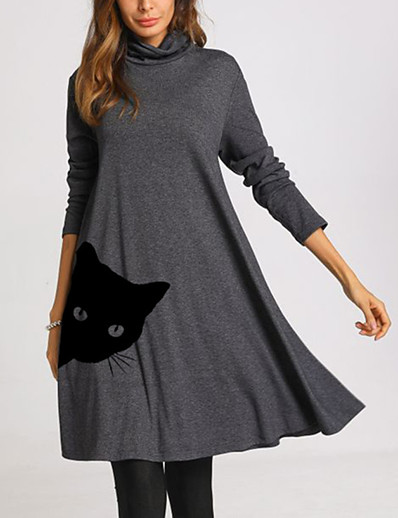 cheap Knee-Length Dresses-Women's Swing Dress Knee Length Dress - Long Sleeve Cat Print Dress Patchwork Print Spring Fall Casual Loose 2020 Blue Green Dusty Blue Gray S M L XL XXL