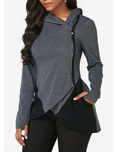 cheap Hoodies & Sweatshirts-Women's Zip Up Hoodie Sweatshirt Solid Color Zipper Daily Casual Hoodies Sweatshirts  Dark Gray