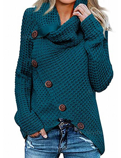 cheap NEW IN EXCLUSIVE-Women's Knitted Button Solid Color Pullover Long Sleeve Sweater Cardigans Crew Neck Fall Winter Blue