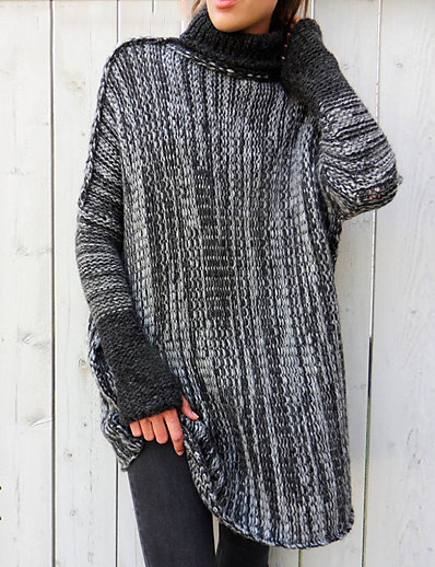 cheap Sweaters & Cardigans-Women's Knitted Color Block Pullover Long Sleeve Sweater Cardigans Turtleneck Fall Winter Light Brown Light gray Dark Gray