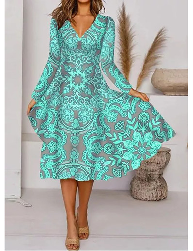 cheap Midi Dresses-Women's A Line Dress Midi Dress Green Long Sleeve Floral Print Fall V Neck Elegant 2021 M L XL XXL 3XL