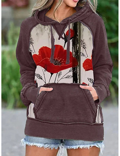 cheap Hoodies & Sweatshirts-Women's Tunic Animal Long Sleeve Print Cowl Neck Tops Basic Top Red Green Light gray