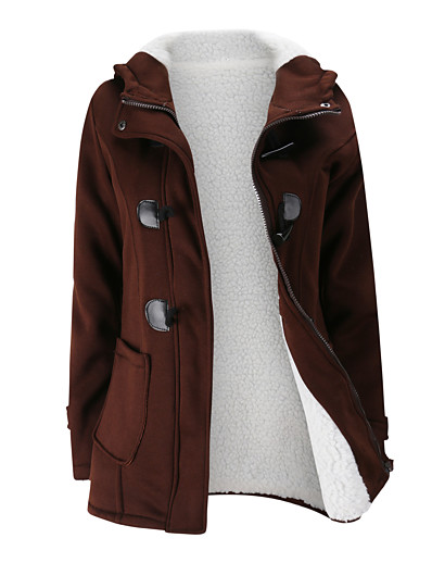 cheap OUTERWEAR-Women's Zipper Jacket Regular Solid Colored Daily Basic Black Blue Wine S M L