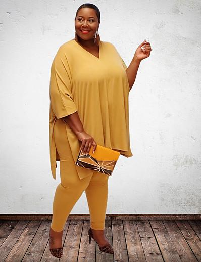 abordables Combinaisons Grandes Tailles Femme-Femme Couleur unie Plein Ensemble deux pièces Tee-shirt Pantalon Hauts