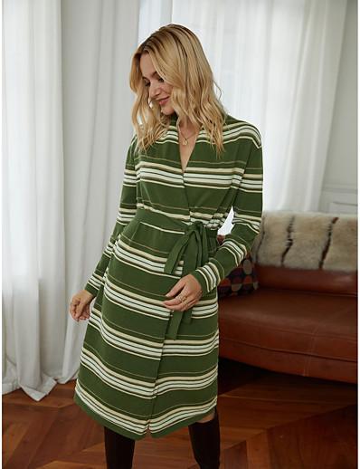 abordables NOUVELLE DANS-Femme Robe Pull Robe Longueur Genou - Manches Longues Rayé Automne Hiver Col en V Travail Elégant Sortie 2020 Vert Véronèse S M L XL
