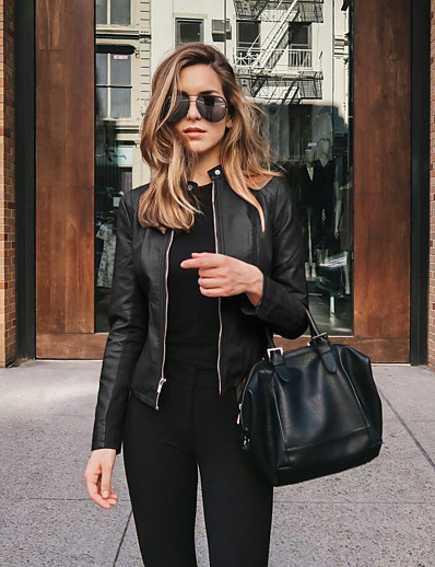 cheap Jackets-Women's Outerwear Solid Color Classic Style Classic & Timeless Fall Faux Leather Jacket Dailywear PU Coat Tops #Navy