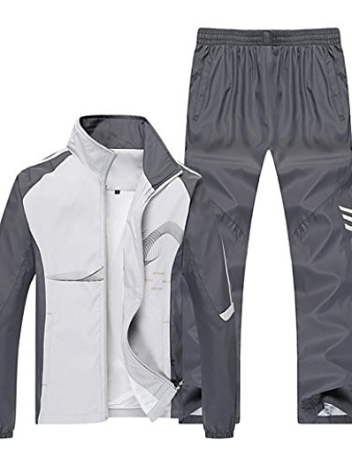 cheap Running, Jogging & Walking-Men's Long Sleeve Tracksuit Sweatsuit 2 Piece Outfit Set Clothing Suit Athletic Athleisure 2 Piece Winter Breathable Soft Fitness Running Jogging Exercise Sportswear Plus Size White Blue Red Light