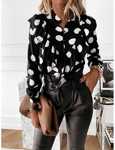 cheap Women's Tops-Women's Shirt Polka Dot Long Sleeve Shirt Collar Tops White Black