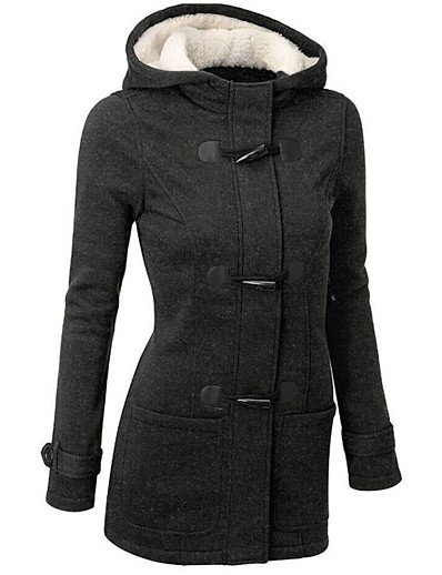 cheap Jackets-Women's Jacket Regular Solid Colored Daily Basic Black Wine Army Green S M L