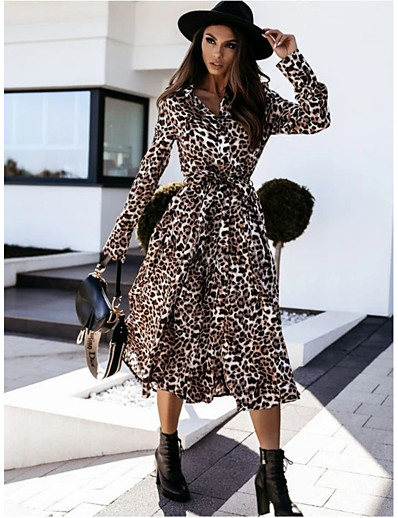 cheap NEW IN-Women's A-Line Dress Midi Dress - Long Sleeve Leopard Print Fall Casual 2020 Light Brown Brown S M L XL XXL