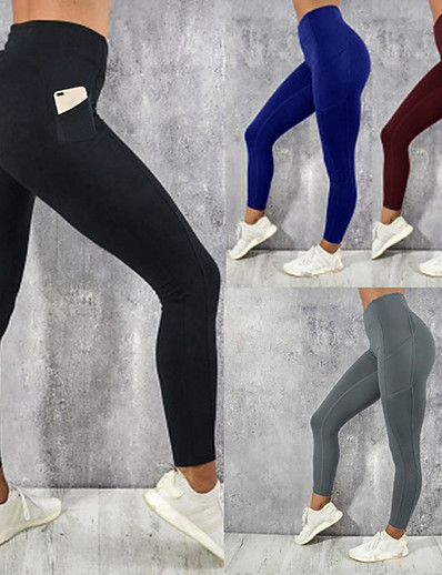 cheap Running, Jogging & Walking-Women's Running Tights Leggings Compression Pants Street Tights Leggings Bottoms with Phone Pocket Winter Fitness Gym Workout Running Jogging Training Breathable Quick Dry Soft Sport Solid Colored