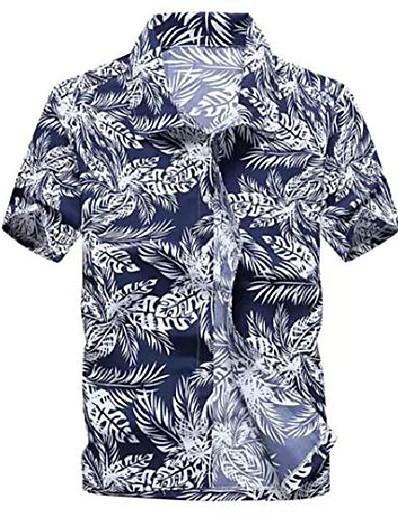cheap Men's Tops-mens hawaiian shirt - summer beach hawaiian shirts for men - tropical aloha button up shirt (blue leaves, large)