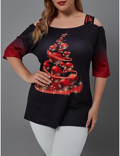 preiswerte Weihnachtsoberteile-Damen Übergrössen Bluse Hemd Schneeflocke Pailletten Patchwork Bateau Oberteile Grundlegend Basic Top Schwarz
