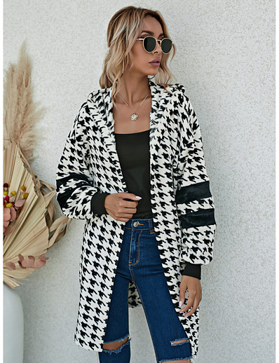 cheap NEW IN EXCLUSIVE-Women's Fall & Winter Open Front Coat Long Houndstooth Daily Black & White Black M L XL XXL / Loose