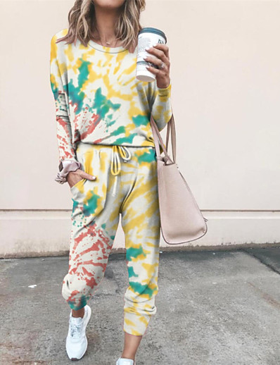 cheap JUMPSUITS & ROMPERS-Women's Basic Tie Dye Two Piece Set Hooded Hoodie Pant Patchwork Drawstring Tops