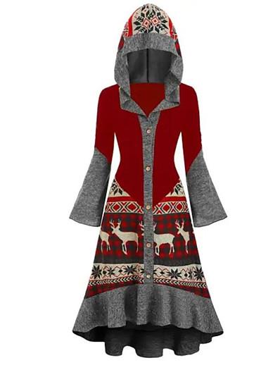 preiswerte Weihnachtskleider-Damen A-Linie Kleid Knielanges Kleid - Langarm Druck Rüsche Druck Winter Freizeit 2020 Schwarz Rote Wein Grün S M L XL XXL 3XL