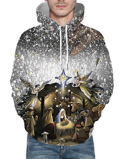 cheap NEW IN-Men's Pullover Hoodie Sweatshirt Print 3D Graphic Hooded Christmas 3D Print Christmas Hoodies Sweatshirts  Long Sleeve Khaki