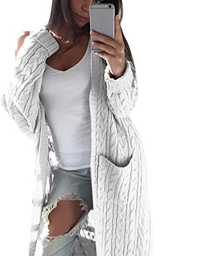 cheap Jackets-women bohemia open front cardigan ladies long sleeve knitting jacket casual coat outwear with pockets (white)