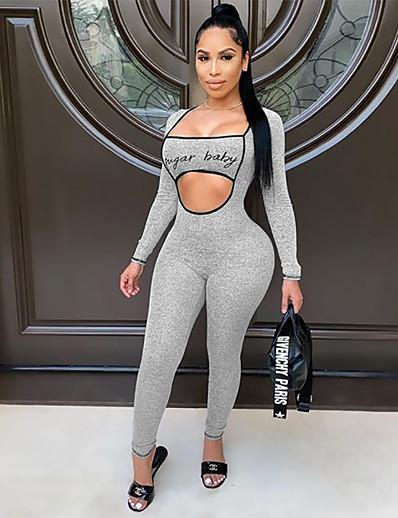 cheap Jumpsuits & Rompers-Women's Black Blue Gray Jumpsuit Letter Cut Out