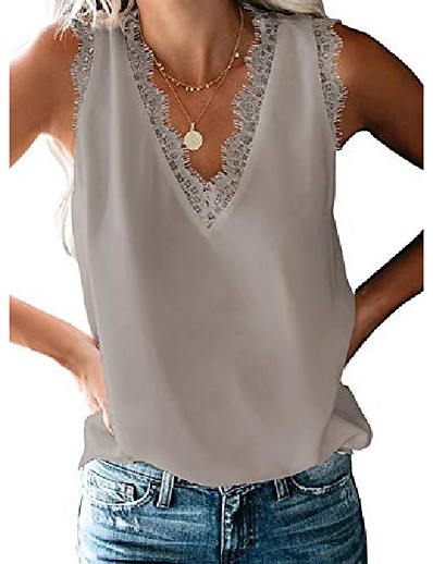 cheap TOPS-womens tank tops juniors tops cute workout tops v neck lace camisole for women grey medium