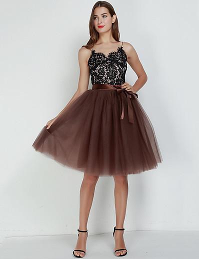 cheap Women's Bottoms-women's tulle skirt princess tutu midi knee length skirt underskirt dance skirt white