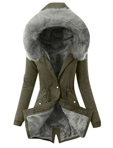 cheap Furs & Leathers-Winter Jacket Women Fur Collar Parkas Slim Zipper Parkas Hat Hoodie Thicken Winter Coat Outwear Long Female Coat