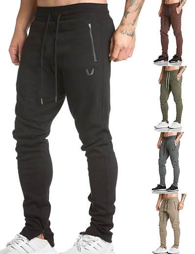 cheap Running, Jogging & Walking-mens sweatpants men joggers workout jogger pants with zipper pockets dark grey