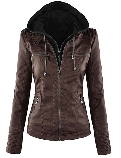 cheap Jackets-women's sparteens real leather jacket bomber removable hood for women brown