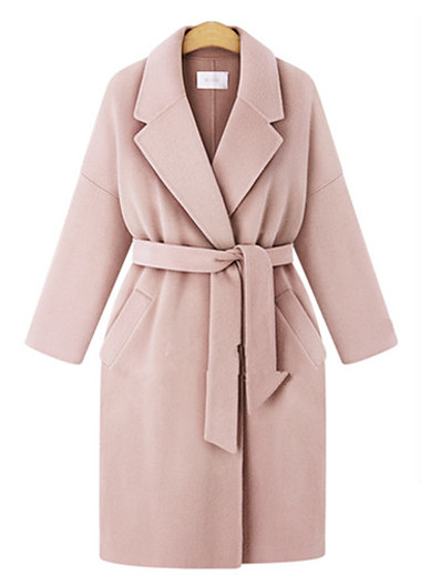cheap Plus Size Outerwear-Women's Coat Long Solid Colored Daily Active Blushing Pink Beige Gray L XL XXL 3XL