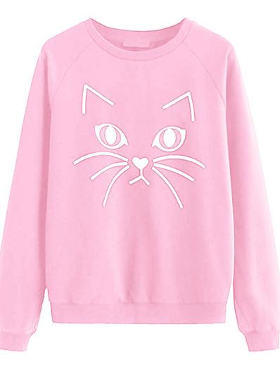 cheap Hoodies & Sweatshirts-Women's Pullover Sweatshirt Cat Cartoon Daily Casual Hoodies Sweatshirts  White Black Blushing Pink