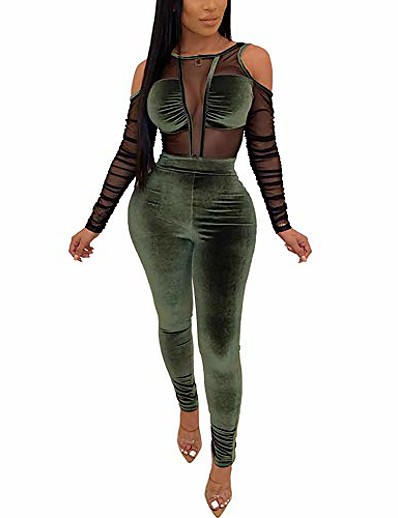 cheap JUMPSUITS & ROMPERS-rompers and jumpsuits for women - sexy jumpsuits for women clubwear bodycon bodysuit see through mesh long sleeve romper clubwear green
