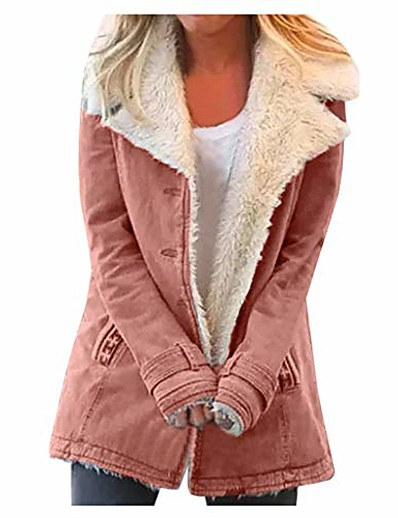 cheap Coats & Trench Coats-composite plush button coat women plus size winter warm composite plush button lapels jacket outwearcoat pink