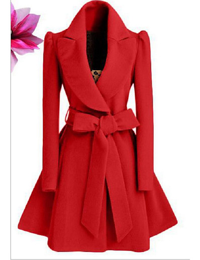 cheap NEW IN-Women's Fall & Winter Coat Long Solid Colored Daily Basic Black Red Khaki S M L XL