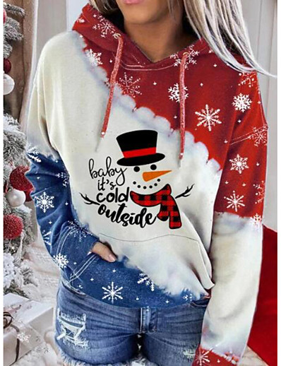 cheap Christmas Tops-Women's Plus Size Pullover Hoodie Sweatshirt Galaxy Christmas Christmas Hoodies Sweatshirts  White Black Red