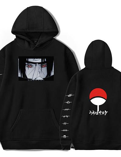 cheap Cosplay & Costumes-Inspired by Naruto Cosplay Akatsuki Uchiha Itachi Hoodie Anime Polyester / Cotton Blend Print Printing Harajuku Graphic Hoodie For Women's / Men's