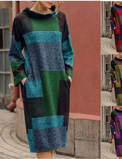 abordables NOUVELLE DANS-Femme Robe Droite Robe Midi - Manches Longues Bloc de Couleur Imprimé Automne Hiver Simple Rétro Vintage Coton Ample 2020 Violet Rouge Vert Gris M L XL XXL
