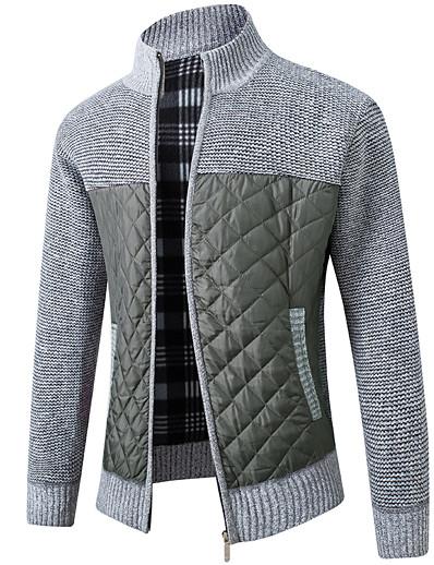 cheap Men's Tops-Men's Unisex Cardigan Color Block Full Zip Zipper Front Zip Stylish Sweaters Long Sleeve Sweater Cardigans Fall Winter Stand Collar Light gray Black Dark Gray / Machine wash / Medium / Holiday
