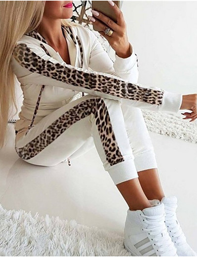 cheap Two Piece Set-Women's Basic Leopard Causal Daily Two Piece Set Hoodie Tracksuit Pant Loungewear Jogger Pants Drawstring Patchwork Tops