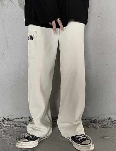 cheap Bottoms-Women's Sporty Outdoor Loose Daily Wide Leg Pants Pants Solid Colored Full Length High Waist Black Beige