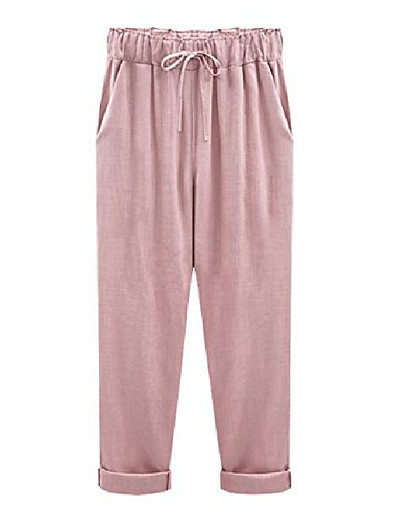 cheap Bottoms-women's casual loose baggy linen drawstring summer thin cropped harem pants  xx large pink